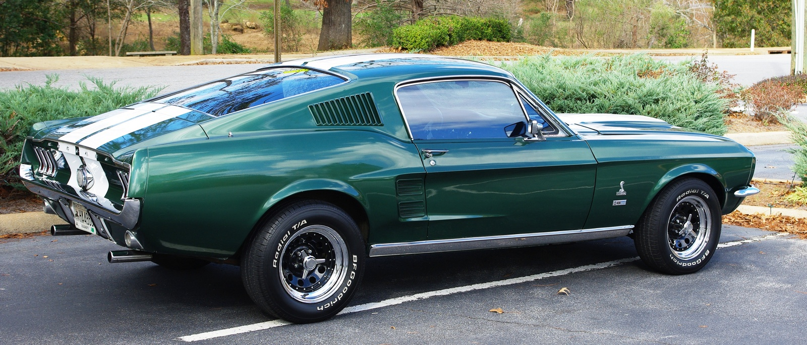 picture of Ford Mustang, 1967, fastback, green, white stripes