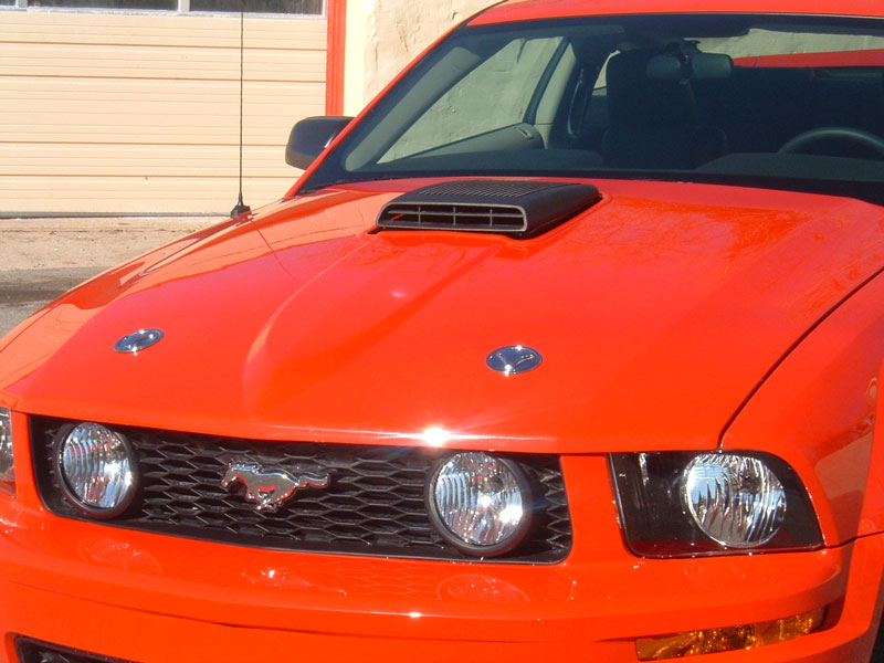 picture of Ford Mustang, ~2005, hood scoop, red