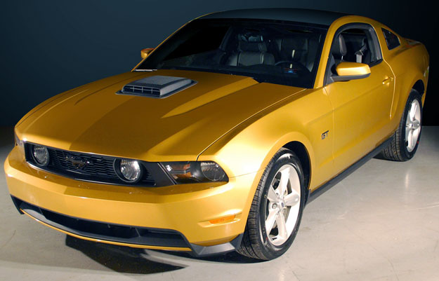 picture of Ford Mustang, 2010, yellow/black, hood scoop